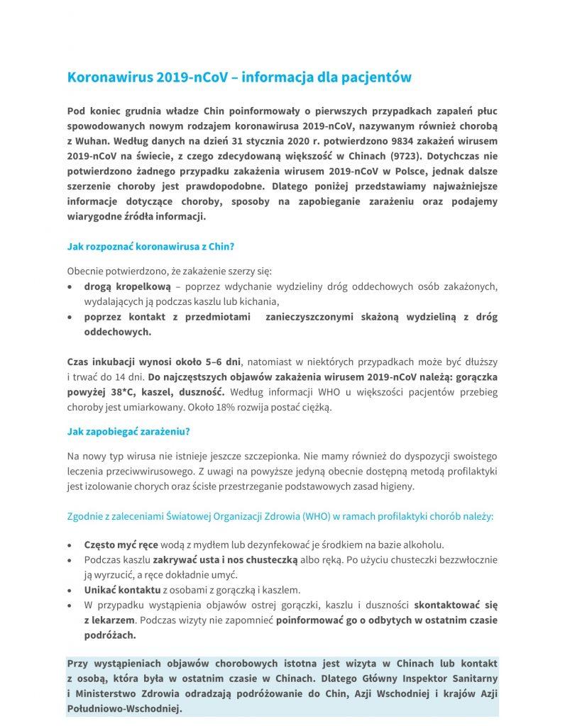 KORONAWIRUS –  Informacja dla pacjentów