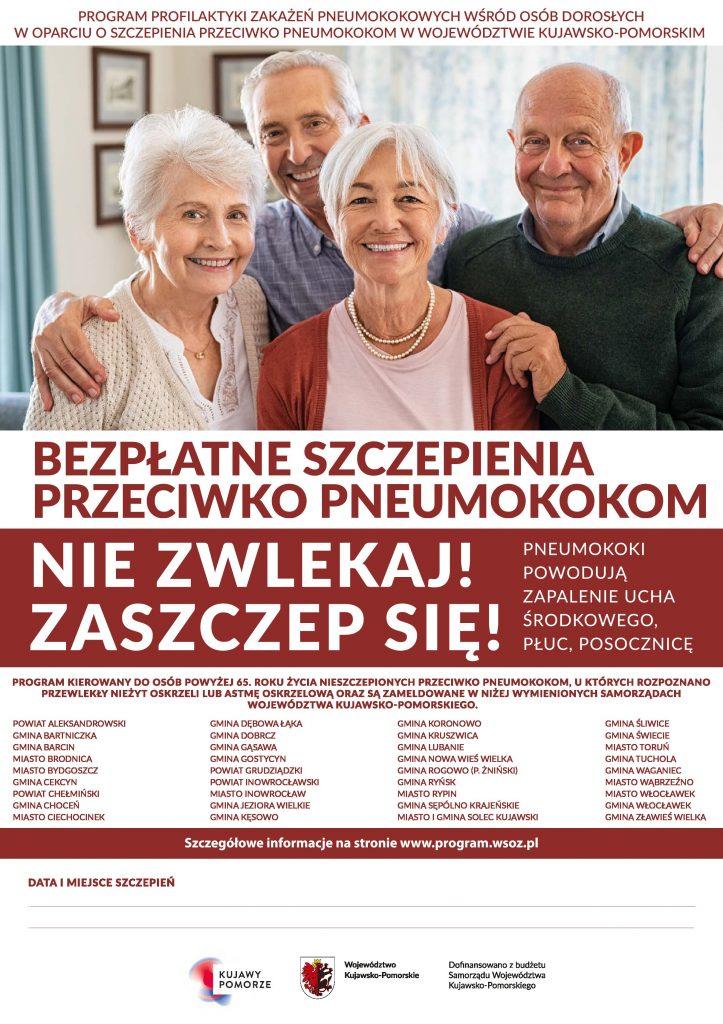 BEZPŁATNE SZCZEPIENIA PRZECIW PNEUMOKOKOM DLA OSÓB  w wieku 65+ Z GMINY LUBANIE (KUJAWSKO-POMORSKIE)